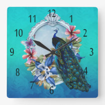 Peacock And Floral Square Wall Clock
