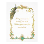 Peacock and French Baroque Golden Frame Stationery Custom Flyer