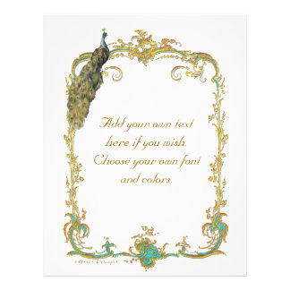 Peacock and French Baroque Golden Frame Stationery Flyer