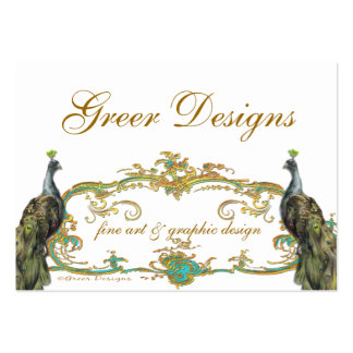 Peacock and Gold Business/Profile/Save the Date Large Business Card