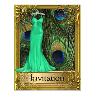 Peacock and Gold Green Any Party 4.25x5.5 Paper Invitation Card