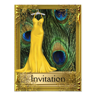Peacock and Gold Invitation Any Party