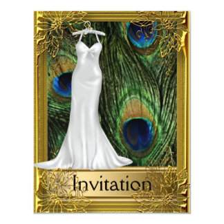 Peacock and Gold White Any Party Card