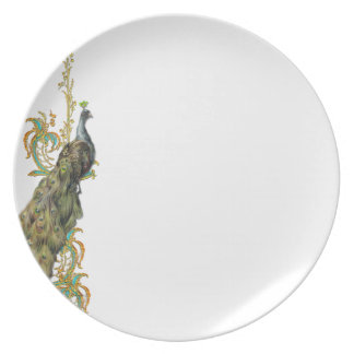 Peacock and Golden scrolls Plate