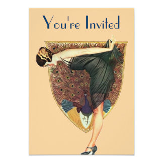 Peacock and Lady Custom Invites