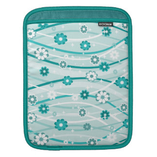 Peacock and Mint Green Flowers and Curves iPad Sleeve