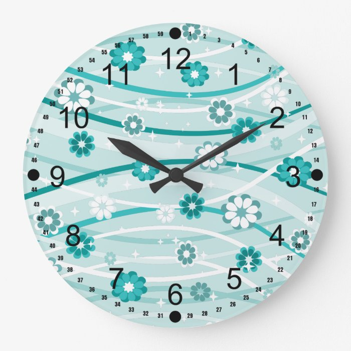 Peacock and Mint Green Flowers and Curves Large Clock