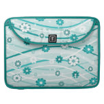 Peacock and mint green flowers and curves MacBook pro sleeves