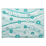 Peacock and mint green flowers and curves place mat