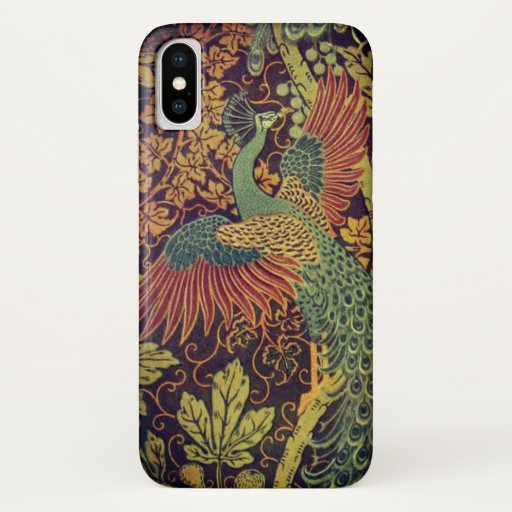 Peacock and oakleaf victorian jacquard iPhone XS case