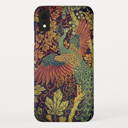 Peacock and oakleaf victorian jacquard iPhone XR case