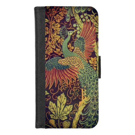 Peacock and oakleaf victorian jacquard iPhone 8/7 wallet case