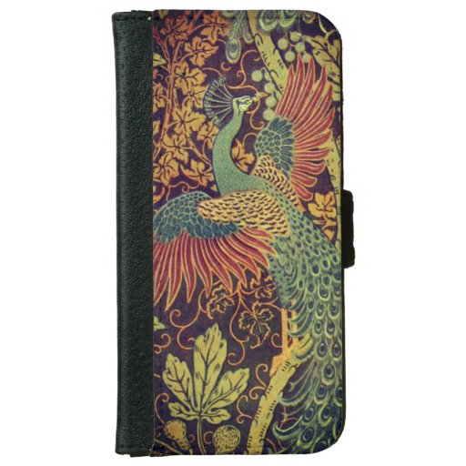 Peacock and oakleaf victorian jacquard iPhone 6/6s wallet case