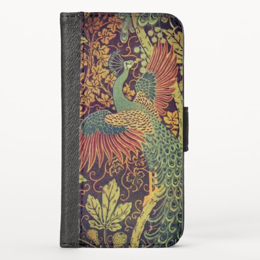 Peacock and oakleaf victorian jacquard iPhone XS wallet case
