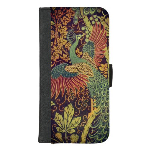Peacock and oakleaf victorian jacquard iPhone 8/7 plus wallet case