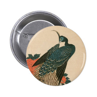 Peacock and Peonies by Hiroshige, Japanese Art Buttons
