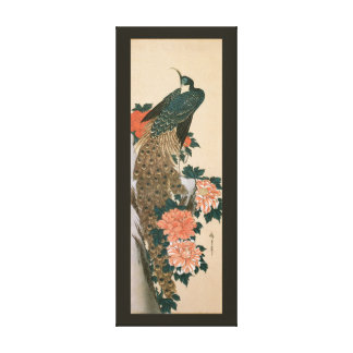 Peacock and Peonies by Hiroshige, Japanese Art Canvas Print