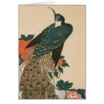 Peacock and Peonies by Hiroshige, Japanese Art Card
