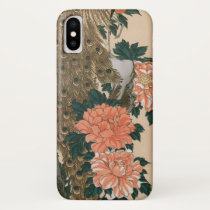 Peacock and Peonies by Hiroshige, Japanese Art iPhone X Case