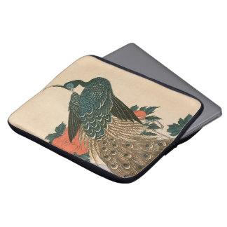 Peacock and Peonies by Hiroshige, Japanese Art Laptop Sleeve