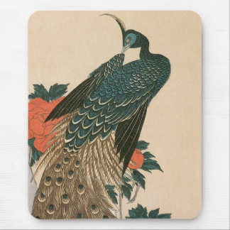 Peacock and Peonies by Hiroshige, Japanese Art Mouse Pad