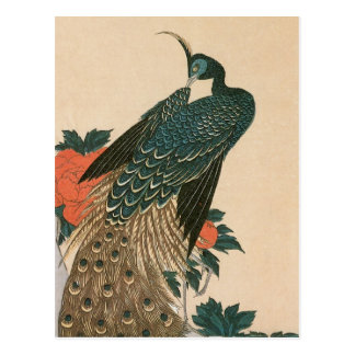 Peacock and Peonies by Hiroshige, Japanese Art Postcard