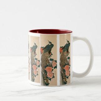 Peacock and Peonies by Hiroshige, Japanese Art Two-Tone Coffee Mug