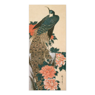 Peacock and Peonies Wedding, Art by Ando Hiroshige Custom Announcement