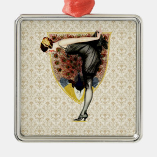 Peacock and Pin Up Girl Christmas Tree Ornaments