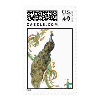 Peacock and Scrolls Postage Stamps