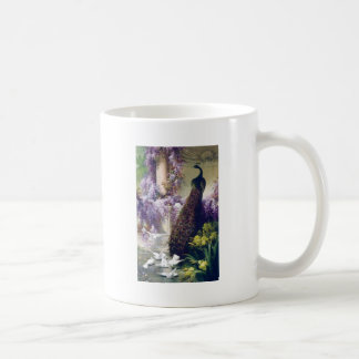 Peacock and white doves birds painting coffee mug