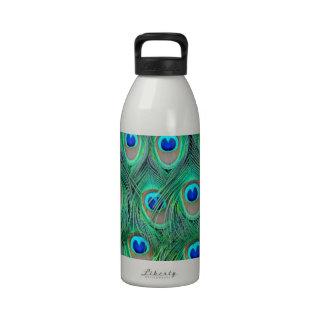 peacock animal print - feathers drinking bottles