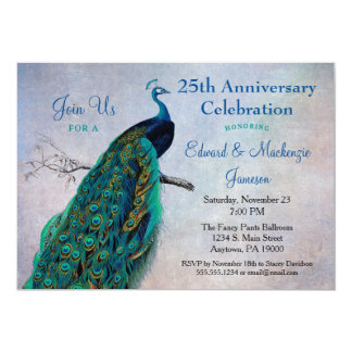 Peacock Anniversary Invitation Vintage Blue Bird