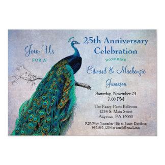 Peacock Anniversary Invitation Vintage Blue Bird