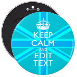 Peacock Aqua Keep Calm And Your Text Union Jack 6 Inch Round Button