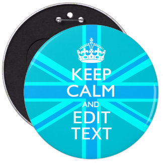 Peacock Aqua Keep Calm And Your Text Union Jack Button