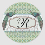 peacock aqua sage green diamond damask pattern classic round sticker
