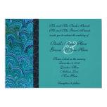 "Peacock Aqua Wedding Invitation 5"" X 7"" Invitation Card"