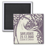 Peacock art deco violet and ivory save the date 2 inch square magnet