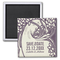 Peacock art deco violet and ivory save the date magnet