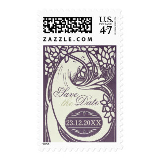 Peacock art deco violet and ivory save the date postage