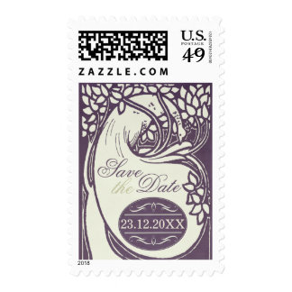 Peacock art deco violet and ivory save the date postage stamp