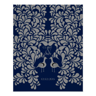 Peacock Art Deco wedding signing guest book Poster
