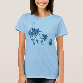 Peacock Art Design Blue Green Indian T-Shirt
