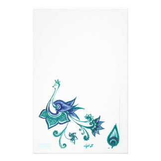 Peacock Art Design Blue Green Stationery
