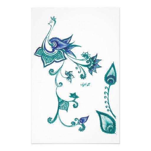 Peacock Art Design Blue Green Stationery Design