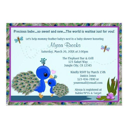 peacock baby shower invitation girl boy mommy pbm 5 x 7 invitatio