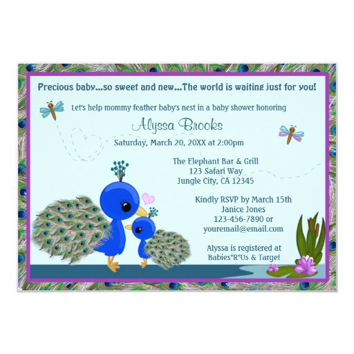 peacock baby shower invitation girl boy mommy pbm zazzle