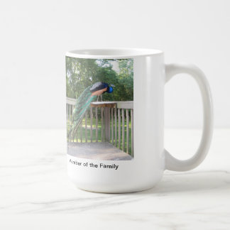 Peacock backyard visitor/ birds, bird lovers coffee mug