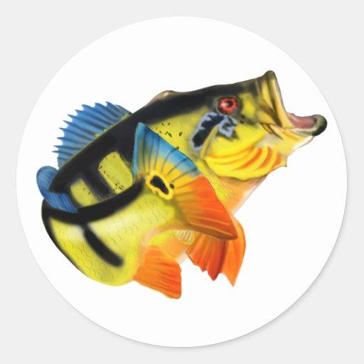 Peacock Bass 3 Classic Round Sticker